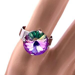 Pink rose solitaire 14mm crystal ring